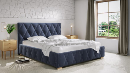 Designer Polsterbett blau Trivio