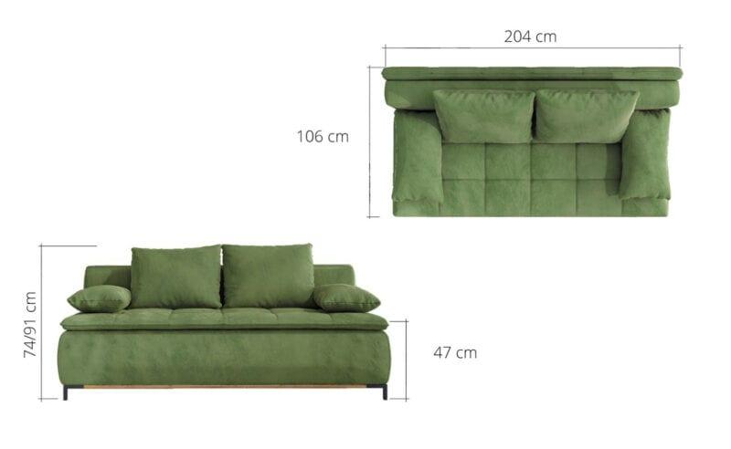 Sofa mit bettfunktion abmessungen