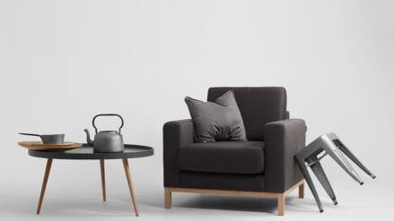 Sessel schwarz mit holz Scandic