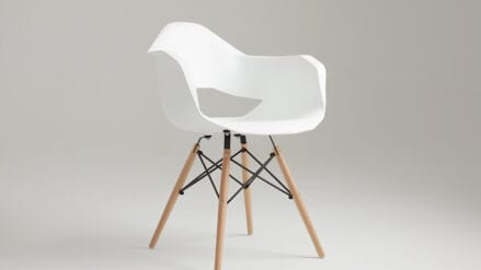 Designer-Stuhl Match Arm Wood White