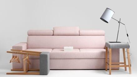 Schlafsofa rosa mit Bettkasten Atlantica