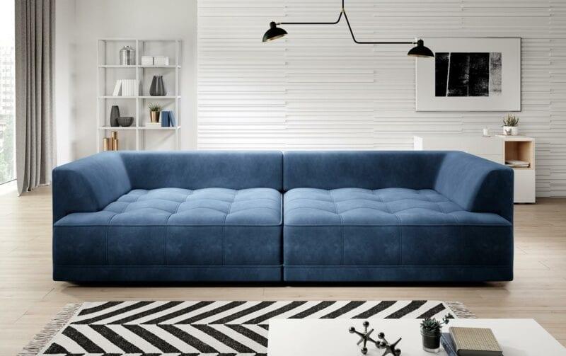 Bigsofa samt blau mit bettfunktion - Mirada