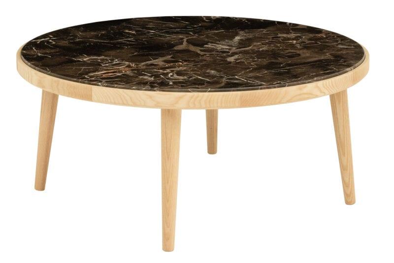 Beistelltisch Eiche Amaranth Marmor rund