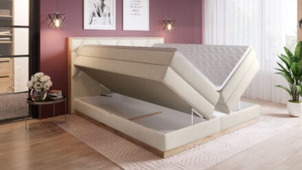 Boxspringbett Eiche mit bettkasten Galia
