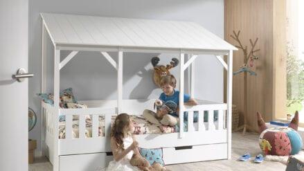 Hausbett mit Bettschublade Lulu Weiß