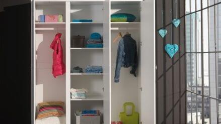 Kleiderschrank 3-trg Ros offen