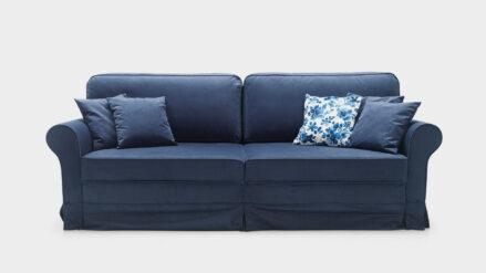 Schlafsofa mit Bettkasten im englischen Stil Royal blau