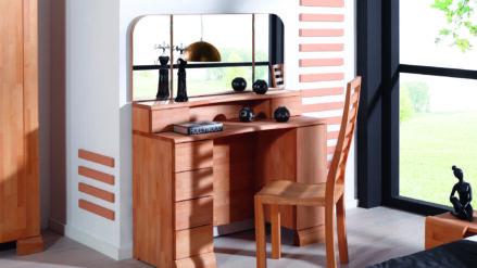 Massivholz Schminktisch mit Spiegel Seti