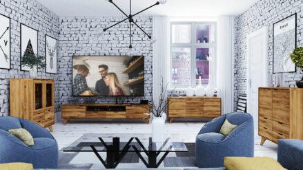 Eiche TV-Schrank mit 2 Schubladen 220x40 cm - Greg