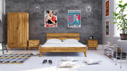 Eiche Bett massiv Greg- verschiedene Abmessungen & Oberflächen