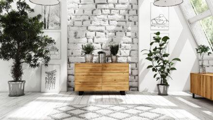 EicheKommode mit 6 Schubladen STEEL