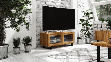 Eiche TV-Schrank mit Glas STEEL