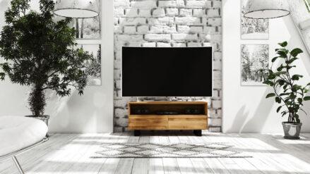 TV-Schrank Eiche massiv 132x50 cm STEEL detal
