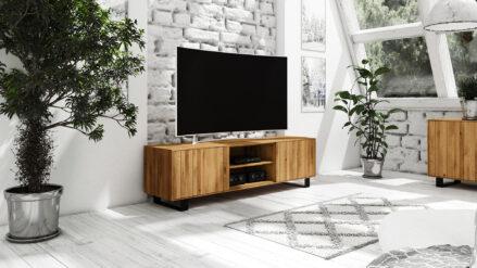 TV-Schrank Eiche massiv mit metall 197x50 cm STEEL