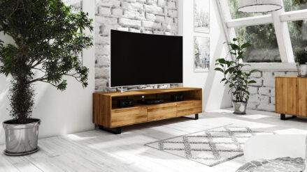 TV-Schrank Eiche massiv 197x50 STEEL