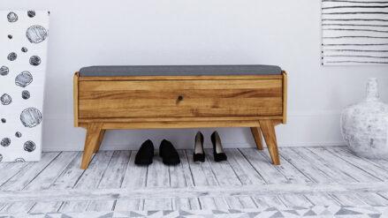 Sitzbank Eiche massiv mit Schublade Retro