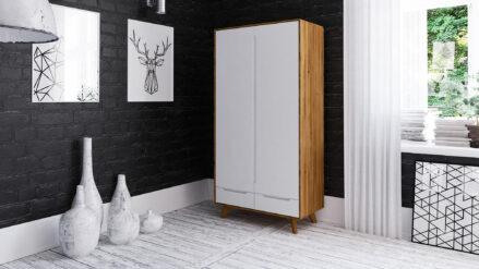 Kleiderschrank aus Eiche 2-türig Bianco