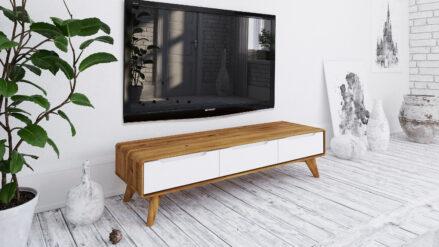 TV-Schrank Eiche mit 3 Schubladen Bianco hohe 33