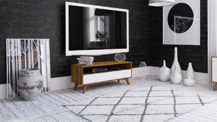 TV-Schrank Eiche mit 2 schubladen Bianco 120x40