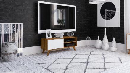 TV-Schrank Eiche mit weißer Front & 2 Ablagen Bianco