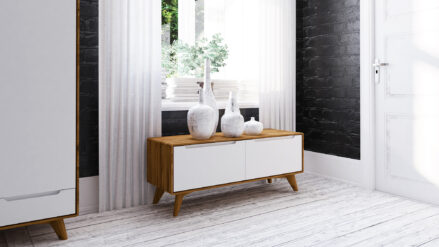 TV-Schrank Eiche 2-türig Bianco 120x40 cm