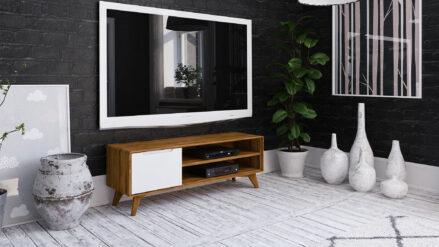 TV-Schrank Eiche mit weißer Front Bianco