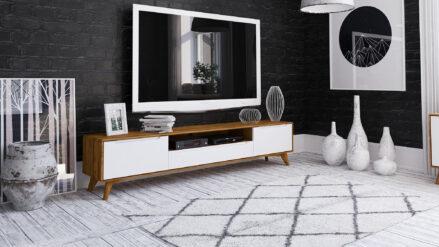 TV-Schrank Eiche mit weißen Fronten Bianco