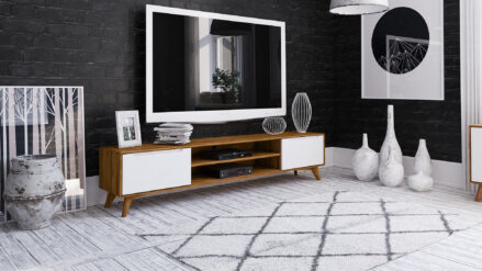TV-Schrank Eiche 220 x 40 Bianco