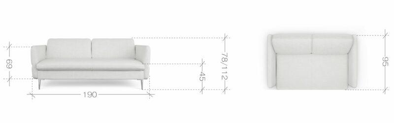 Sofa mit Komfortkopfstütze Vino 3 abmessungen