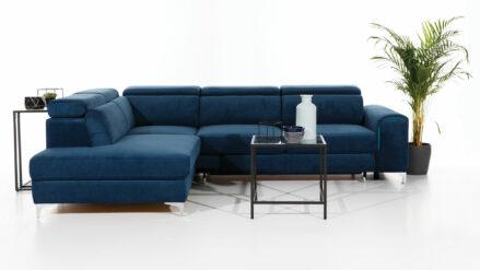 Ecksofa blau mit Kopfteilverstellung Genova XL