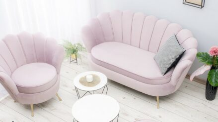 Sofa Shell samt rosa