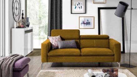 Sofa mit Kopfstützenverstellung Paco samt senfgelb