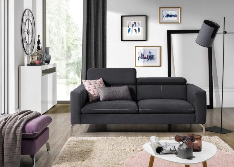 Sofa mit Kopfstützenverstellung Arezza anthrazit samt