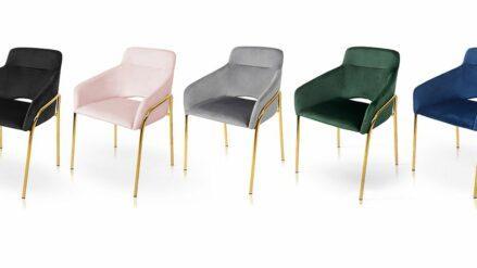 elegantz Polsterstuhl Verona samt blau, grun, rosa , grau, schwarz mit gold detale