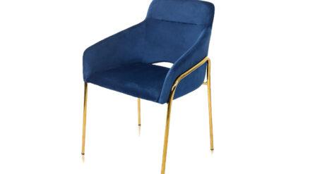 eleganter Polsterstuhl Verona samt blau mit gold füssen