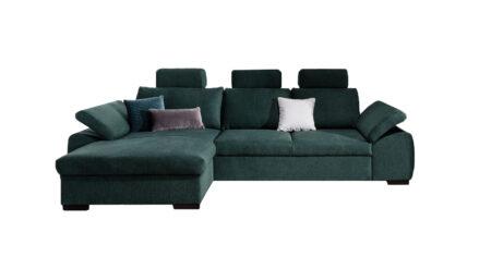 Ecksofa grün Webstoff mit Schlaffunktion und Bettkasten Dover