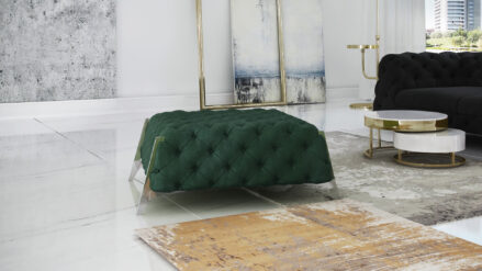 glamour Polsterhocker Chesterfield Hollywood 80x80 120x60 cm samt grun