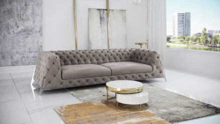 3-Sitzer Sofa Chesterfield Hollywood samt taupe