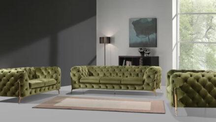 Sessel sofa Chesterfield Lasvegas samt olivegrun mit gold fusse