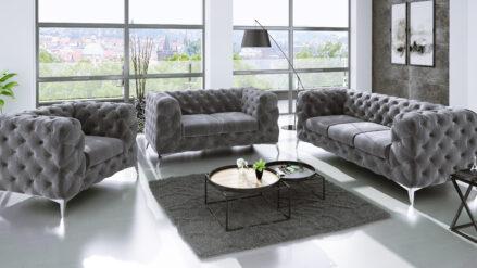 Sessel sofa Chesterfield Losangeles samt grau