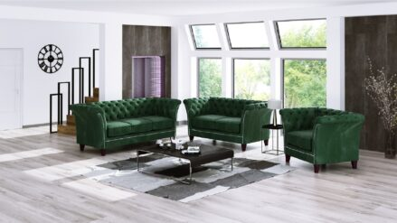 glam Chesterfield Sofa 2-Sitzer Milano samt grun