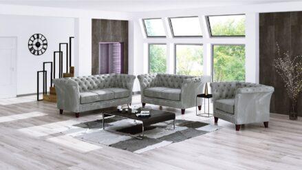 glamour Chesterfield Sofa 2-Sitzer und sessel Milano samt grau