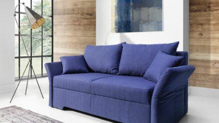 Schlafsofa blau mit Bewegliche Armlehne Melfi