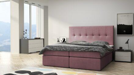Boxspringbett mit Bettkasten samt rosa -Remo