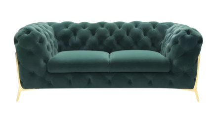 Chesterfield Sofa 2-Sitzer samt grün Vegas