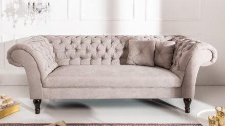 glamour sofa samt Chesterfield Sofa 3-Sitzer 2-sitzer Charleston samt beige