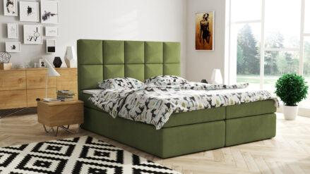 Boxspringbett mit Bettkasten samt grun olivegrun - Diamond