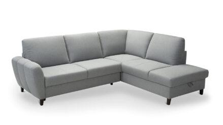 Eckschlafsofa mit Bettkasten webstoff grau - Gala