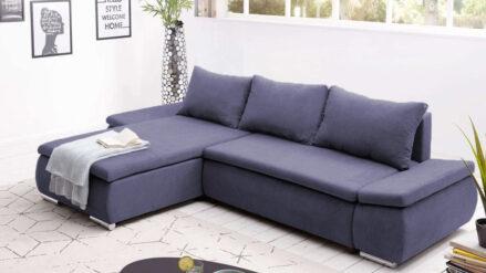 Eckcouch mit Schlaffunktion & Bettkasten webstoff blau -Paulo