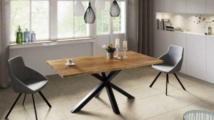 Esstisch Eiche mit Stahl GAMMA90x 160 90x180 100x220 cm